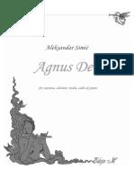 Aleksandar Simić - Agnus Dei, cela partitura