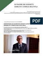 Disposizioni in Favore Dei Soggetti Affetti Da Sensibilita' Chimica Multipla (Mcs) – Pino Pisani