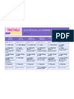 Jazz School UK Summer Course Timetable 2011