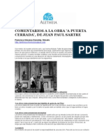 """COMENTARIOS A LA OBRA """"A PUERTA CERRADA"""", DE SARTRE"""