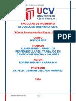 ALINEAMIENTO, TRAZO DE PERPENDICULARES, TRABAJOS EN CAMPO CON WINCHA Y JALONES