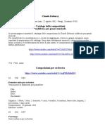 Claude Debussy - Catalogo delle Opere con guide all'ascolto e link a YouTube