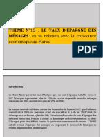 THEME N°13 EPARGNE DES MENAGES