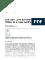 Éric Sadin, La Vie algorithmique. Critique de la raison numérique