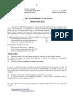 Résolution examen comptabilité de gestion février 2020