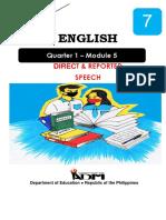 English7 q1 Mod5 Directreportedspeech v3