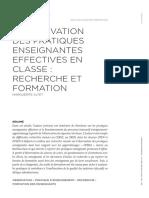L'OBSERVATION DES PRATIQUES ENSEIGNANTES EFFECTIVES EN CLASSE