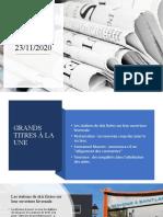 Revue de Presse du 23/11/2020