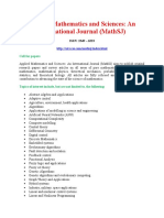 Applied Mathematics and Sciences