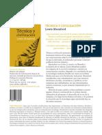 Ficha comercial 'Técnica y civilización' de Lewis Mumford
