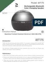 iHOME (iBT175) Speaker-User Manual