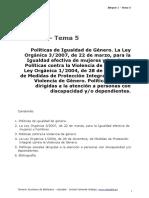 BLOQUE 1. TEMA 5. POLITICAS IGUALDAD DE GENERO