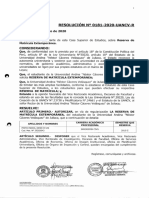 Resolución N° 0181-2020-UANCV-R