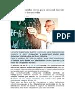 Aportes a seguridad social para personal docente contratado por hora cátedra