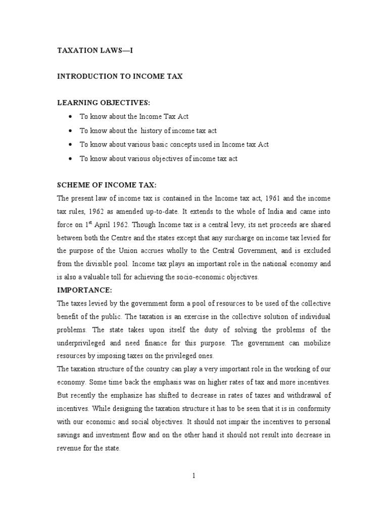 B Com - INCOME TAX STUDY MATERIAL | Tax Deduction | Taxes