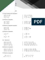 Lista Equação Do 1º Grau - 7ano