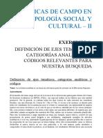 Ejercicio, DEFINICIÓN DE EJES TEMÁTICOS, CATEGORÍAS ANALÍTICAS Y CÓDIGOS RELEVANTES PARA NUESTRA BUSQUEDA