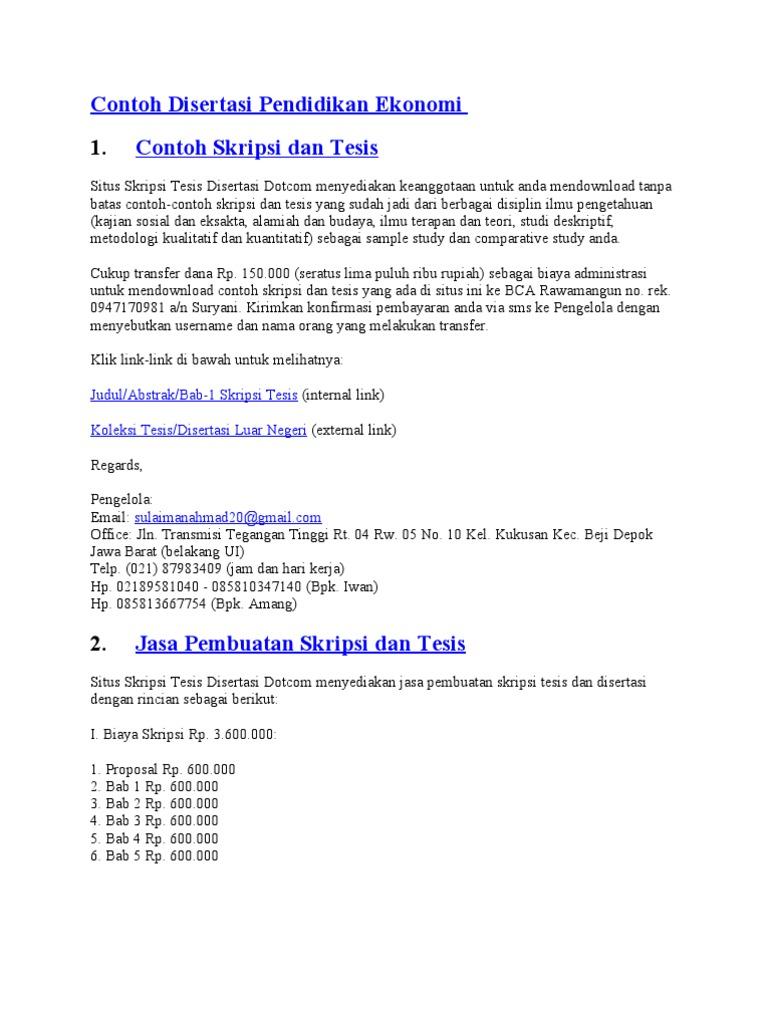 Contoh Disertasi Pendidikan Ekonomi
