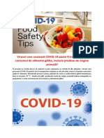 Virusul care cauzează COVID-19 poate fi transmis prin consumul de alimente gătite, inclusiv produse de origine animală?