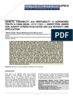 Genetic Variability and Heritability of Agronomic Traits in Faba Bean (Vicia faba L.) Genotypes under Soil Acidity Stress Evaluated with and without Lime Application.
