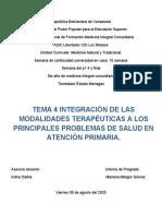 SEM 15. TEMA 4  INTEGRACION DE LAS MODALIDADES TERAPÉUTICAS