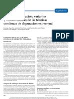 Concepto, aplicacion, variantes y monitorizacion de las tecnicas continuas de depuracion extrarrenal