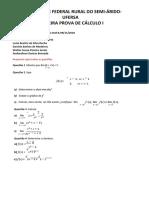 Prova Calculo 1- Unid 1
