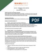 WAMU 88.5 Community Council Meeting Minutes