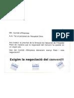 Comunicado de prensa del comité de empresa de Hospital Clínic
