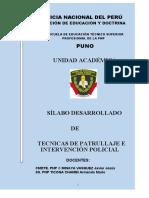 SILABO TECNICAS DE PATRULLAJE E INTERVENCIÓN POLICIAL.docx