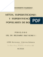 Mitos, Supersticiones y Supervivencias Populares de Bolivia by M. Rigoberto Paredes 1870-1940