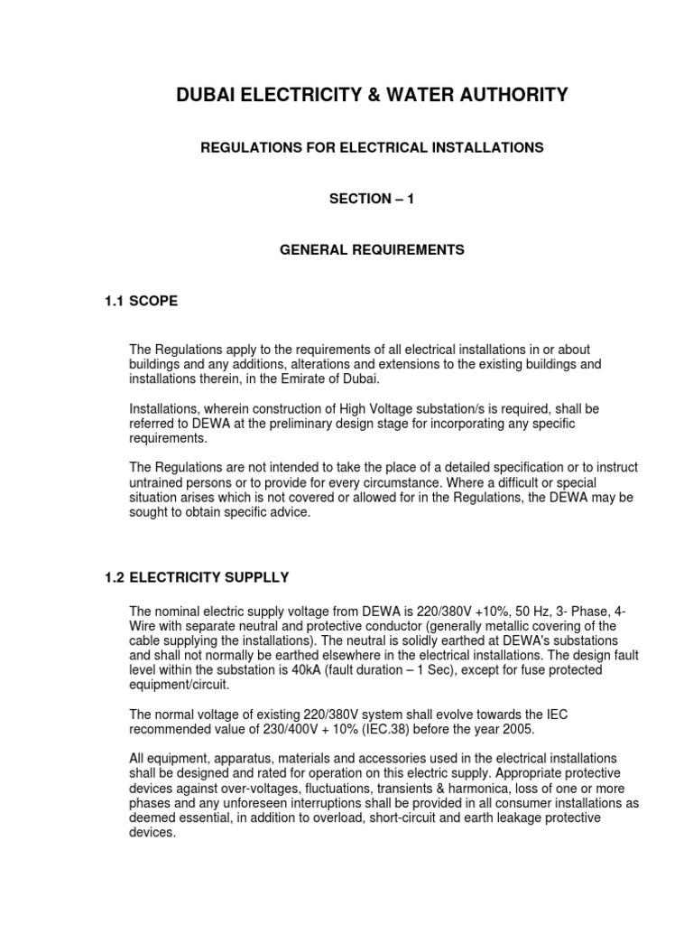 Pleasant Dewa Regulations For Electrical Installations Electrical Wiring Wiring Digital Resources Sapebecompassionincorg