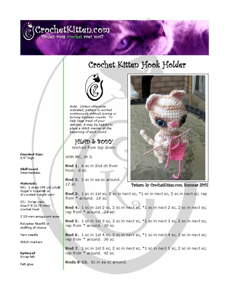 Crochet Kitten Hook Holder Amigurumi Crochet