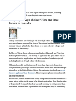 Weighing college choices Here are three factors to consider