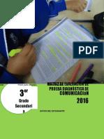 Matriz de evaluación diagnóstica COM - 3°