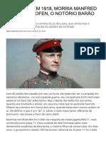Aventuras na História · Neste dia, em 1918, morria Manfred von Richthofen, o notório Barão Vermelho