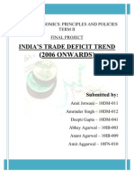 A Report On - India's Trade Deficit Trend (2006 onwards)