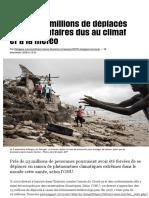 En 2020, 4 millions de déplacés supplémentaires dus au climat et à la météo - Libération