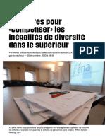 Des pistes pour «compenser» les inégalités de diversité dans le supérieur - Libération