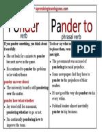 Ponder vs Pander To