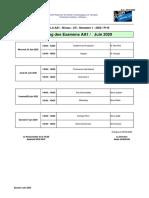 Planning EXAMENS AA1 et PME2 Juin 2020 du 29 05 2020