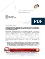 04SINDESENA RECHAZA SUSPENSIÓN DE SUSCRIPCIÓN DE CONTRATOS DE PRESTACIÓN DE SERVICIOS PERSONALES
