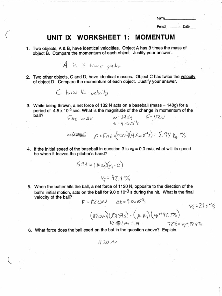 Momentum Worksheet 1 Answers printables conservation of momentum – Worksheet Conservation of Momentum