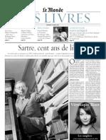 SARTRE, Jean-Paul • Sartre, cent ans de liberté. Le Monde des livres (vendredi 11 mars 2005)