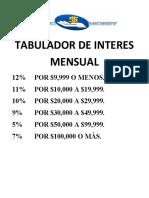 TABULADOR DE INTERES MENSUAL
