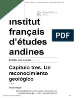 El diablo en la montaña - Capítulo tres. Un reconocimiento geológico - Institut français d'études andines