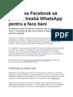Cum vrea Facebook să pună la treabă WhatsApp pentru a face bani