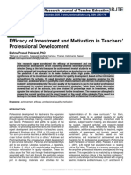 Efficacy of Investment and Motivation in Teachers' Professional Development