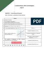 BAC - E3C - Sujet et corrigé - Mathématique - série terminale technologique n°1