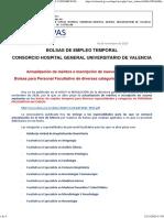 [Lista_simap] BOLSA DE EMPLEO TEMPORAL CONSORCIO HOSPITAL GENERAL UNIVERSITARIO DE VALENCIA y CONSORCIO HOSPITAL PROVINCIAL DE CASTELLÓN